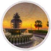 Sunrise Over Pinapple Fountain Round Beach Towel