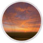 Sunrise Over Prairies Round Beach Towel