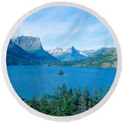 Sunrise Over St. Mary Lake, Glacier Round Beach Towel