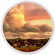 Sunrise Over Strawberry Estate - Horizontal Round Beach Towel