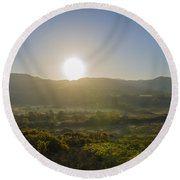 Sunrise Over The Bluestack Mountains - Donegal Ireland Round Beach Towel