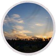Sunrise Over The Cemetary Round Beach Towel