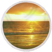 Sunrise Over The Pacific Ocean, Cabo Round Beach Towel