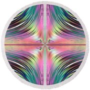Sunrise Over The Waterfalls Fractal Round Beach Towel