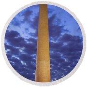 Sunrise Over Washington Monument Round Beach Towel