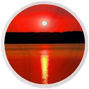 Sunrise Over Whidbey Island Round Beach Towel