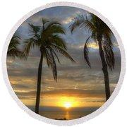 Sunrise Palms Round Beach Towel