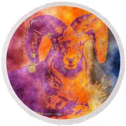 Sunrise Ram Water Color Round Beach Towel
