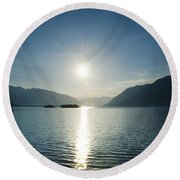 Sunrise Reflected Over An Alpine Lake Round Beach Towel