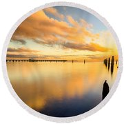 Sunrise Reflections Round Beach Towel