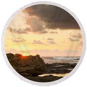 Sunrise Seagull On Rocks Round Beach Towel