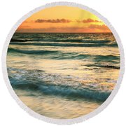 Sunrise Seascape Tulum Mexico Round Beach Towel