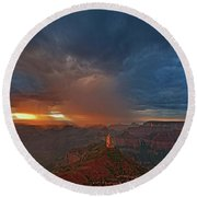 Sunrise Storm North Rim Grand Canyon Arizona Round Beach Towel