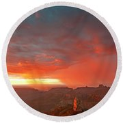 Sunrise Storm Point Imperial North Rim Grand Canyon Np Arizona Round Beach Towel