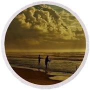 Sunrise Surf Fishing Round Beach Towel