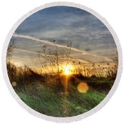 Sunrise Through Grass Round Beach Towel
