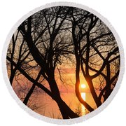 Sunrise Through The Chaos Of Willow Branches Round Beach Towel