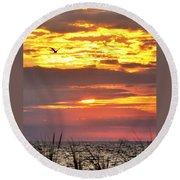 Sunrise Through The Grass Round Beach Towel