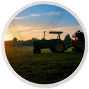 Sunrise Tractor Round Beach Towel