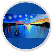 Sunrise At The Lake - Van Gogh Style Round Beach Towel