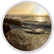 Sunrise Waves On The Rocks By Kaye Menner Round Beach Towel