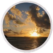 Sunrise With Clouds St. Martin Round Beach Towel