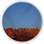 Sunrise With Moon Setting On San Jacinto Mountains Round Beach Towel