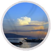 Sunrise With Outrigger Boats Round Beach Towel