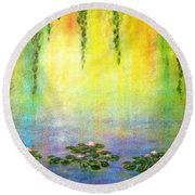 Sunrise With Water Lilies Round Beach Towel
