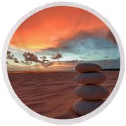 Sunrise Zen Round Beach Towel by Sebastian Musial