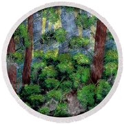 Suns Rays - Forest - Steel Engraving Round Beach Towel