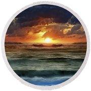 Sunset 12 Round Beach Towel