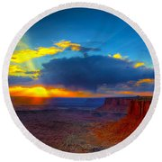 Sunset 2 Round Beach Towel