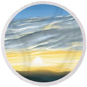 Sunset Above The Hill Round Beach Towel