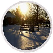 Sunset After The Snow Storm Round Beach Towel