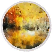 Sunset After The Storm Abstract Round Beach Towel
