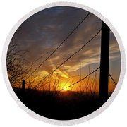 Sunset Along The Fence Yellow Red Orange Fine Art Photography Print  Round Beach Towel