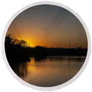 Sunset And Contrails Round Beach Towel