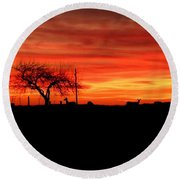 Sunset And Deer Silhouette Round Beach Towel