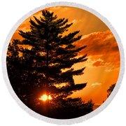 Sunset And Pine Tree  Round Beach Towel
