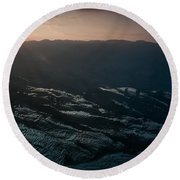 Sunset And Rice Terrace Round Beach Towel