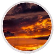 Sunset And Storm Clouds Round Beach Towel