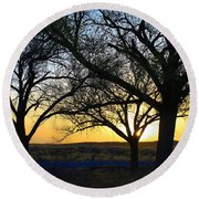Sunset And Trees Round Beach Towel