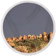 Sunset  Arches National Park Round Beach Towel