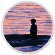Sunset Art - Contemplation Round Beach Towel