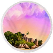 Sunset At Anse Source Argent Seychelles Round Beach Towel