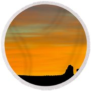 Sunset At Arches National Park Round Beach Towel