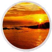 Sunset At Bic Round Beach Towel