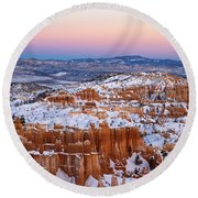 Sunset At Bryce Canyon National Park Utah Round Beach Towel