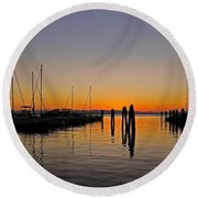 Sunset At Burlington Bay - Vermont Round Beach Towel